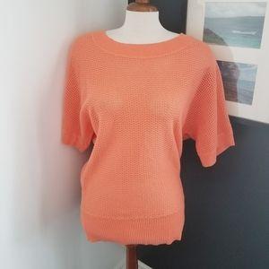 Laura light open knit dolman short sleeve sweater